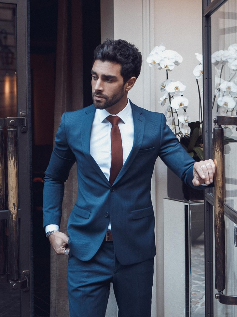 Costume Slim Fit Paterna bleu